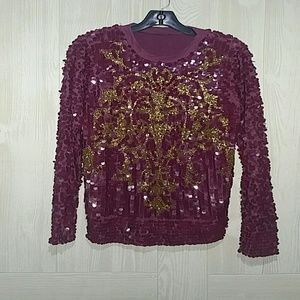 Burgundy and gold asos pull over sweater top